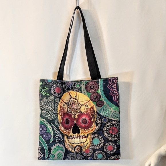 Handbags - Sugar Skull Shopping Tote Market Bag NWOT